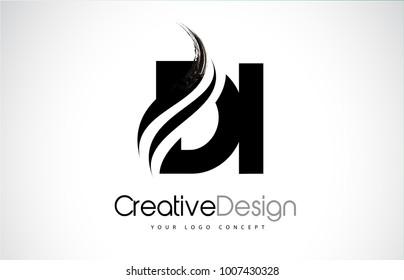 DI D I Creative Modern Black Letters Logo Design with Brush Swoosh