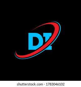 DI D I letter logo design. Initial letter DI linked circle uppercase monogram logo red and blue. DI logo, D I design. di, d i