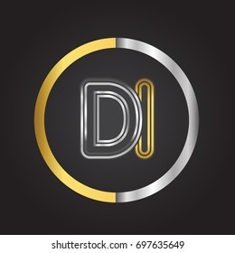DI Letter logo in a circle. gold and silver colored. Vector design template elements for your business or company identity.