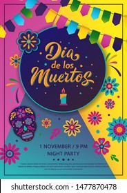 Dia de Los Muertos A4 poster design. Mexican Day of the Dead inscription on dark background. Vector colorful template with festival fire, decorated skull, flowers, lettering sign and garland.