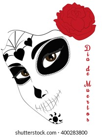 Dia de los Muertos abstract mask of sugar skull with roses for Day of the Dead
