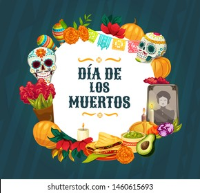 Dia de los Muertos altar decorations. Mexican Day of the Dead vector sugar skulls, Catrina calavera and marigold flowers, sweet bread, candles and maracas, paper cut flags and festive bunting
