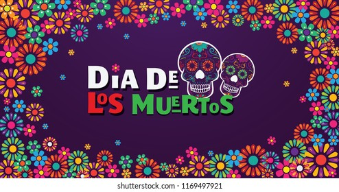 Dia de Los Muertos banner skull surounded with colorful flowers, mexican event, Fiesta, party poster, holiday greeting card.