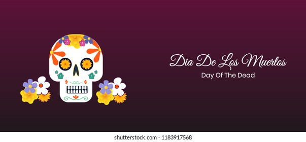 Dia de los muertos banner design and illustration with colorful sugar skull design.