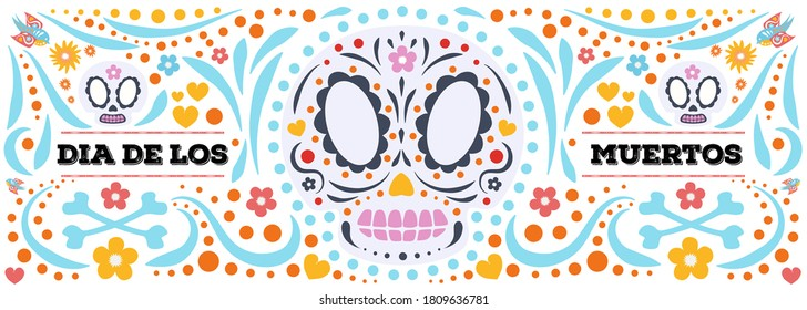 Dia De Los Muertos banner cute style. Day of the Dead with skull and flower for decoration, funny poster party, t shirt, fiesta, greeting card. Mexico Halloween party flyer. Vector 10 eps