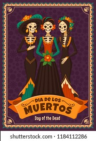 Dia de los Muertos card. Vector illustration of Mexican cartoon Catrinas in different costumes and dresses. Isolated on dark violet background.
