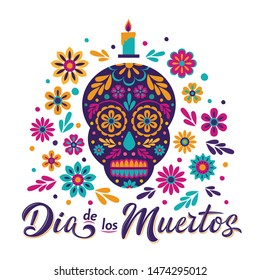 Dia de Los Muertos card with decorated skull, flowers and lettering sign. Mexican Day of the Dead inscription isolated on white. Vector illustration for greeting cards, poster, party flyer, invitation