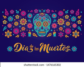 Dia de Los Muertos card with decorated skull, flowers and lettering sign. Mexican Day of the Dead inscription on dark background Vector illustration for greeting cards, poster, flyer, party invitation