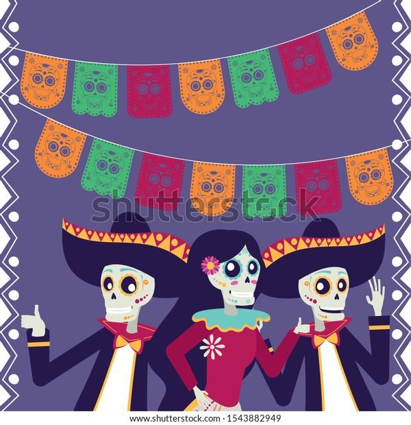 dia de los muertos card with mariachis and catrinas skulls characters vector illustration