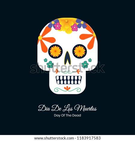 Dia De Los Muertos Colorful Vector Skull Design For Wallpaper And Banner