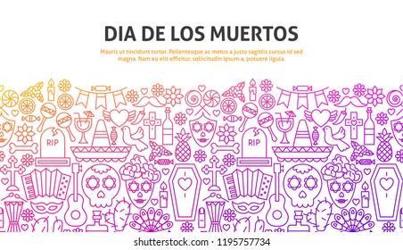 Dia De Los Muertos Concept. Vector Illustration of Line Website Design. Banner Template.