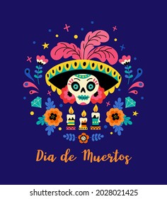 Dia de los Muertos concept. Vector flat cartoon illustration with Catrina sugar festive skull in hat with feathers, flowers and candles, isolated on dark blue background.