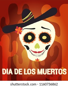 Dia de los muertos day vector illustration. Day of The Dead with smiling sugar festive skull. Halloween poster background, greeting card or t-shirt design