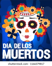 Dia de los muertos day vector illustration. Day of The Dead with smiling sugar festive female skull, surrounded by colorful flowers. Halloween poster background, greeting card or t-shirt design