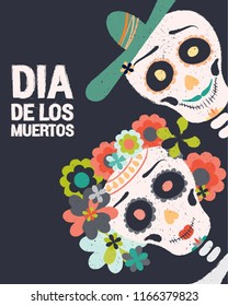 Dia de los muertos day vector illustration. Day of The Dead with smiling sugar skulls couple, surrounded by colorful flowers. Halloween poster background, greeting card or t-shirt design