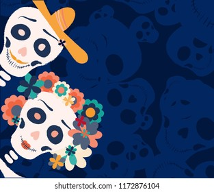 Dia de los muertos day vector illustration. Halloween poster background, greeting card or t-shirt design