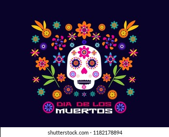 Dia de Los Muertos, Day of the Dead or Halloween greeting card, invitation, banner.Sugar skulls and colorful flowers. Template  for mexican celebration, traditional mexico skeleton decoration. Vector