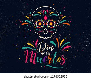 Dia de los Muertos or day of the Dead. Skull banner for mexican halloween celebration. Traditional mexico skeleton decoration with flowers and sugar skull colorful art. Day dead holiday. Vector