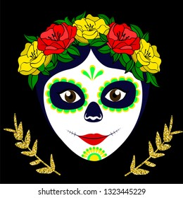 Dia de los muertos, Day of the dead, Mexican holiday, festival. Vector poster, banner and card with make up of sugar skull, woman