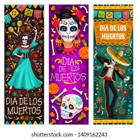 Dia de los Muertos or Day of Dead Mexican holiday banners. Vector skeleton in sombrero playing violin and woman with calavera skull painting dancing on traditional Dia de los Muertos celebration