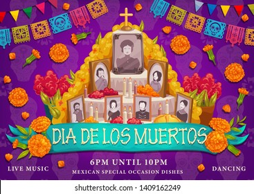 Dia de los Muertos or Day of Dead Mexican traditional holiday. Vector Dia de los Muertos ofrenda altar family photosin marigold flowers, cross and ritual pie with calavera skulls and paper flags