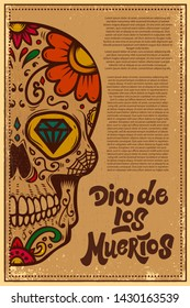 Dia de los muertos (Day of the dead). Mexican sugar skull on grunge background. Design element for poster, logo, label, sign, card, banner. Vector illustration