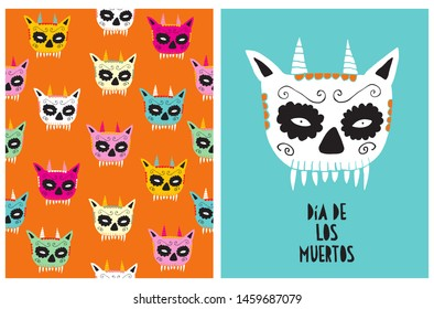 Dia de los Muertos - Day of the Dead, Hand Drawn Vector Illustrations for Halloween Decoration. Scary Mask of Dead Evil Tiger with Long Fangs and Horns. Abstract Print with Painted Tiger Skulls.