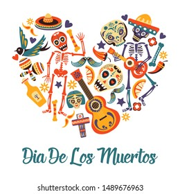 Dia de los Muertos, Day of dead greeting card, Mexican sugar skull and skeleton vector. Mexico symbols in heart shape, cross and guitar, maracas and chili pepper. Candles and tequila, ornate bones