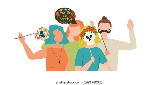 Dia De Los Muertos. Day of the Dead. Group of friends make holiday photo with photosticks. Stock vector