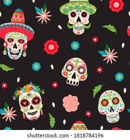 Dia de Los Muertos or Day of the Dead seamless pattern. Sugar mexican skulls with floral decoration. Illustration for fabric, wrapping paper, packaging etc. Colorful vector on black background.