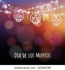 Dia de los muertos (Day of the Dead), Halloween card, invitation. Latino party. String of lights. Hand drawn ornamental skulls, party flags. Vector illustration background