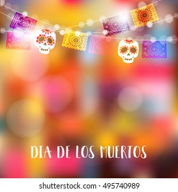 Dia de Los Muertos, Day of the Dead or Halloween card, invitation. Party decoration, string of lights, party flags with skulls. Vector illustration background