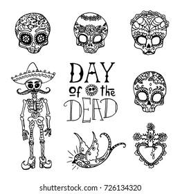 Dia de los Muertos / Day of the Dead hand sketched doodles