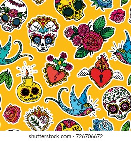 Dia de los Muertos / Day of the Dead seamless pattern