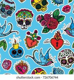 Dia de los Muertos / Day of the Dead seamless pattern