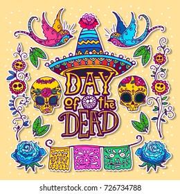 Dia de los Muertos / Day of the Dead design template. Hand sketched elements.