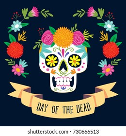 """Dia de los Muertos"" (day of the dead) card with english text. Mexican sugar skull with floral decoration. Vector illustration."