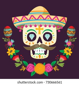 """""""Dia de los Muertos"""" (day of the dead) poster. Mexican sugar skull with a hat, flowers and two maracas. Vector illustration."""