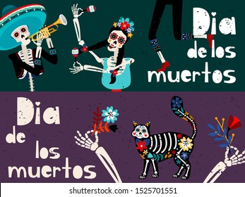 Dia de los muertos flat vector greeting card templates set. Traditional Mexican and Spanish holiday celebration banner layouts collection. Day of Dead party invitation cartoon designs pack