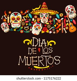 Dia de los Muertos greeting card for Mexican traditional holiday or Day of Dead celebration. Vector cartoon skeleton skulls in sombrero with Mexico ornaments, banjo guitar and candles