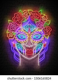 Dia de Los Muertos Greeting Card Template with Catrina Calavera. Day of the Dead Postcard. Shiny Neon Poster, Flyer, Banner, Postcard, Invitation. Brick Wall. Vector 3d Illustration. Clipping Mask