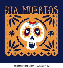 Dia de los Muertos greeting card, invitation. Mexican Day of the Dead. Handmade paper cut party flag with ornametal scull, calavera catrina. Hand drawn vector illustration, background, web banner.