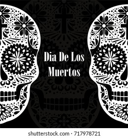 Dia de los Muertos greeting card, invitation. Mexican Day of the Dead. Handmade paper cut party flag with ornametal scull, calavera catrina. Openwork Santa Muerte