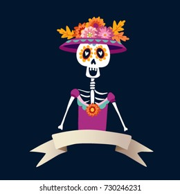 Dia de Los Muertos greeting card, invitation. Mexican Day of the Dead. Skeleton woman with flowers. Ornamental skull. Hand drawn vector illustration, background.
