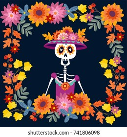 Dia de Los Muertos greeting card, invitation. Mexican Day of the Dead. Floral frame made of mums flowers, autumn leaves. Flowers. Ornamental skull, calavera catrina. Vector illustration background.