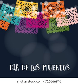 Dia de los Muertos or Halloween card, invitation. Mexican Day of the Dead. Garland of lights, handmade cut colorful party flags. Vector illustration background.