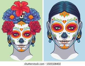 Dia de los Muertos Lady makeup and accesories