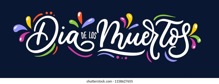 Dia de los Muertos lettering inscription for Day of the Dead with flourish elements isolated on blue background. Vector illustration.
