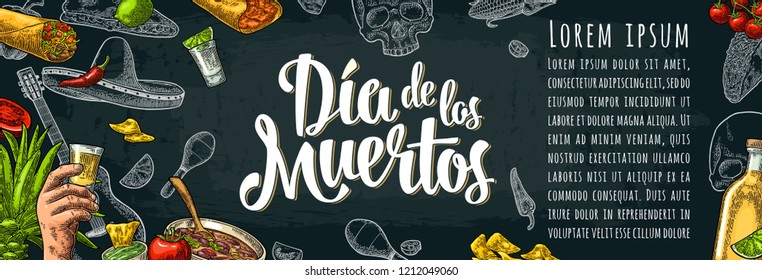 Dia de los Muertos lettering and mexican traditional food. Tequilla, Guacamole, Quesadilla, Enchilada, Burrito, Tacos, Nachos, Chili con carne and ingredient. Vector color vintage engraving on dark