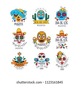 Dia De Los Muertos logo design set, Mexican Day of the Dead holiday, party banner, poster, greeting card or invitation hand drawn vector Illustrations